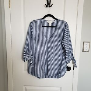 H&M Striped Bow Sleeved Tunic Shirt Blouse Top